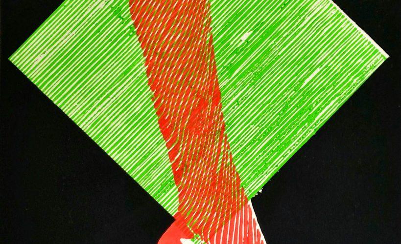 High Heel Linolschnitt Joachim Graf grün