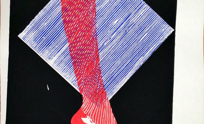 High Heel Linolschnitt Joachim Graf violett