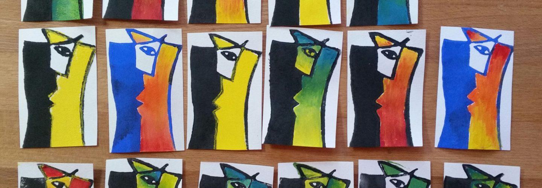 Taschenkunst Begegnung Linolschnitt Joachim Graf
