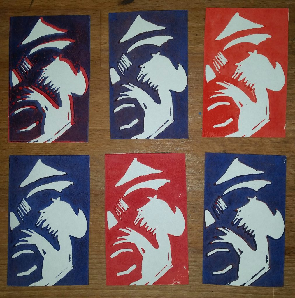 Taschenkunst Crying Man Linolschnitt Joachim Graf