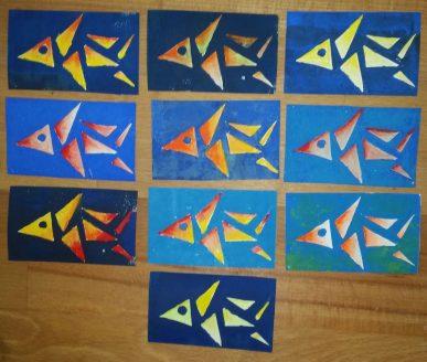 Taschenkunst Fisch im Roten Meer Joachim Graf Linolschnitt