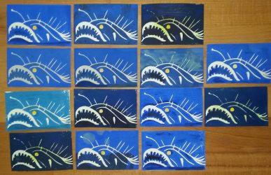 Taschenkunst Tiefseefisch Joachim Graf Linolschnitt