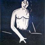 Heavy Metal Girl Linolschnitt von Joachim Graf