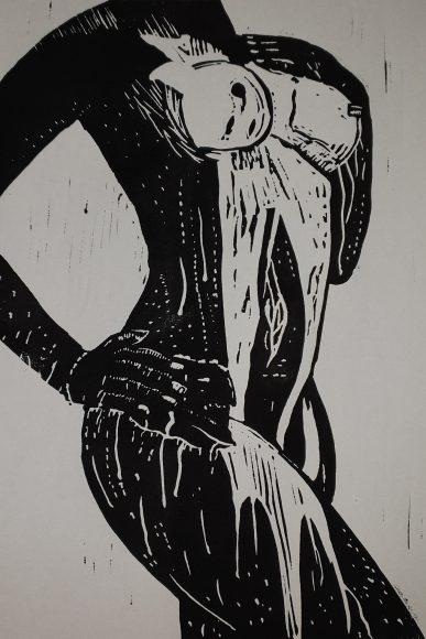Showering women Linolschnitt - Linocut Joachim Graf