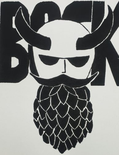 The Hopster - (Bock)Bier-Etikett (Linolschnitt) Joachim Graf