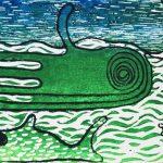der Tintenfisch grüsst winkend den untergehenden Mond