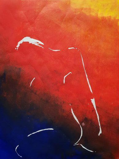 sitzende Frau irisdruck 70x54