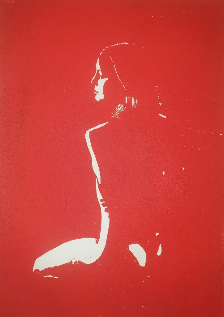 Kniende (Holzschnitt, rot)