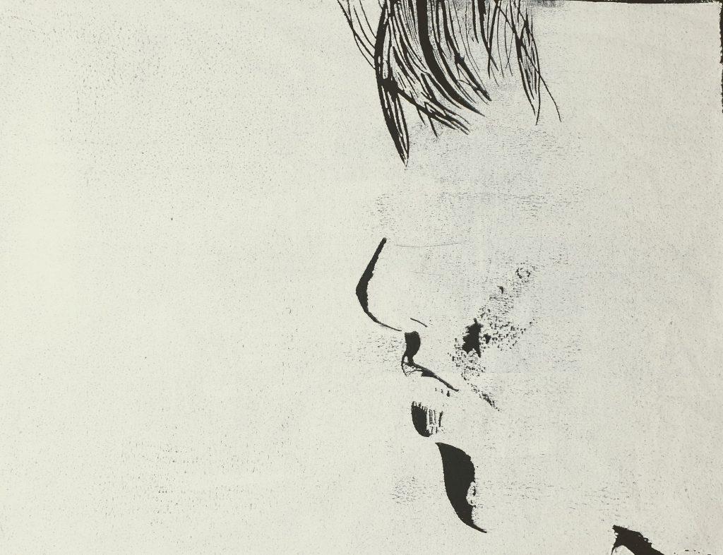 der Blick weiss auf schwarz (Holzschnitt, Joachim Graf)