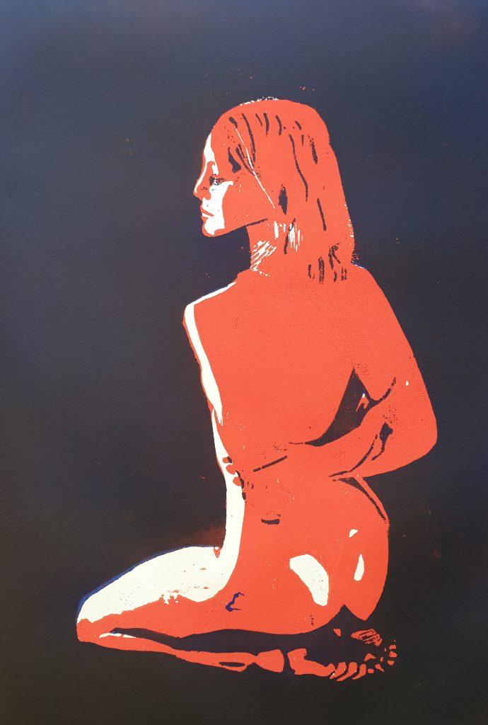 Kniende - Holzschnitt orange/lila