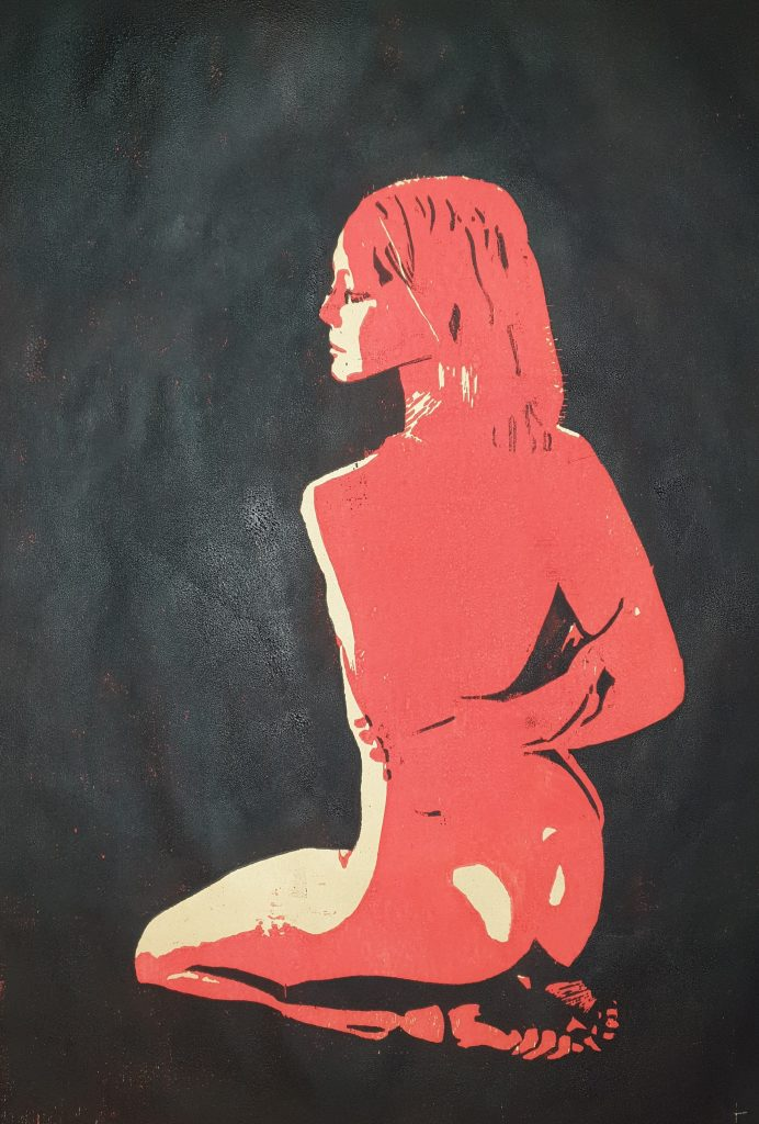 Kniende (Holzschnitt, dunkelrot-schwarz)