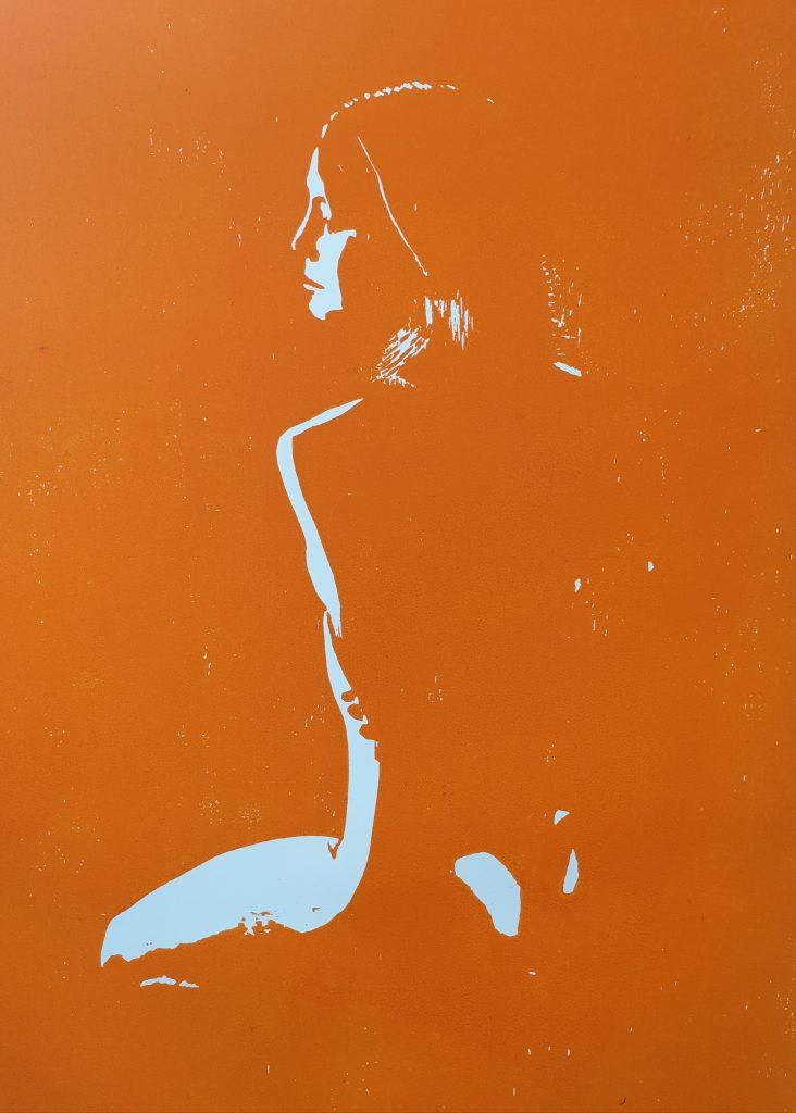 Kniende (Holzschnitt, orange)