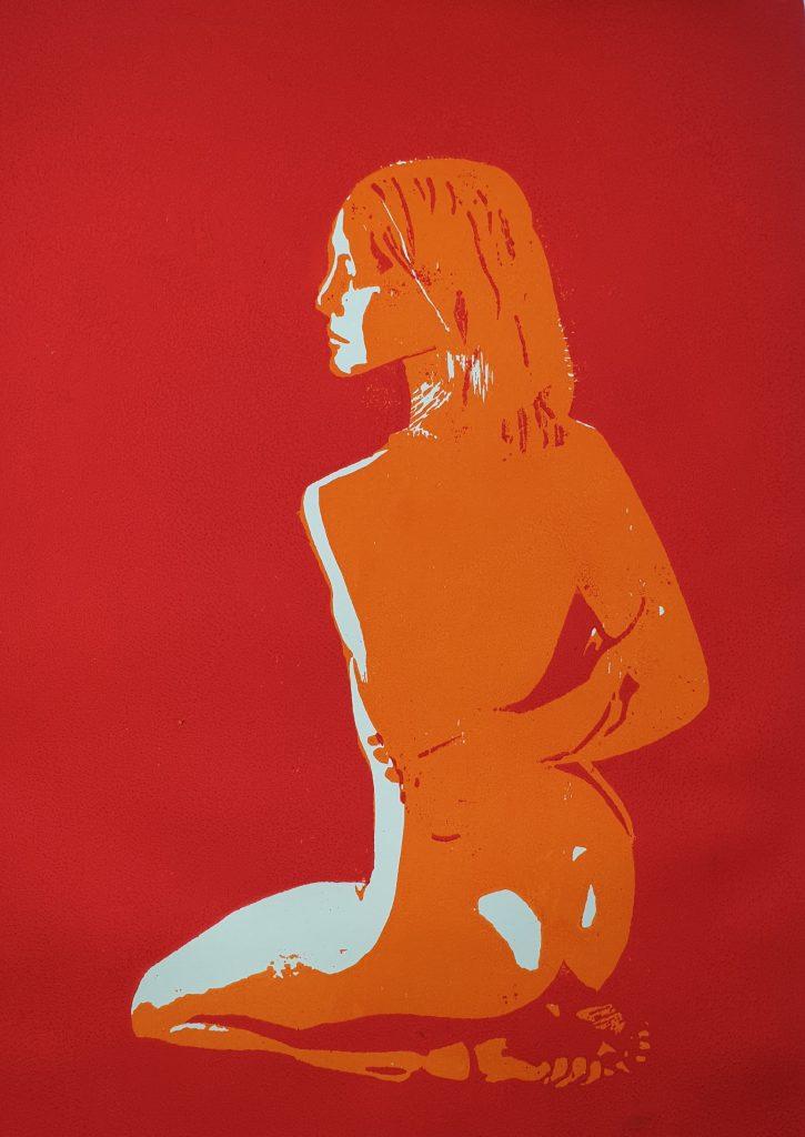 Kniende - Holzschnitt orange/rot