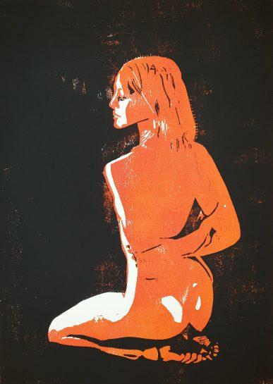 Kniende (Holzschnitt, rot-schwarz)