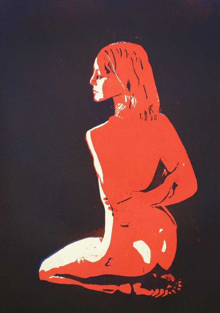 Kniende - Holzschnitt schwarz/rot