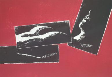 Puzzledruck schwarz-rot holzschnitt weiblicher Akt Joachim Graf