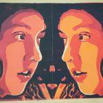 Alice hinter den Spiegeln Vier-Farben-Linolschnitt (orange)
