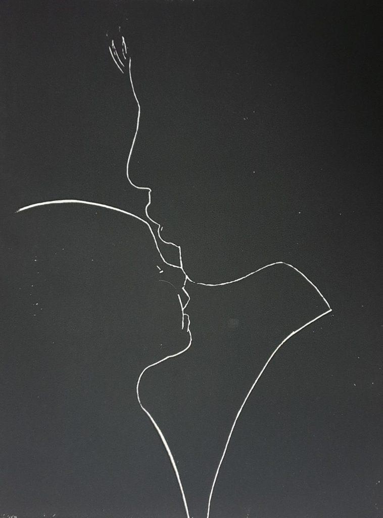 Mother and child lino cut Joachim Graf 2021